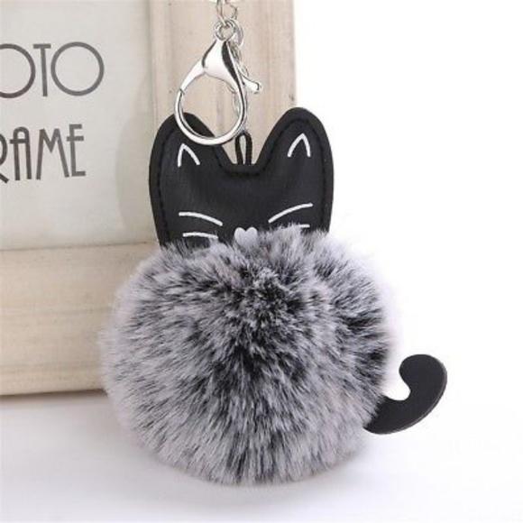Accessories - Black Gray Pompom Kitty Keychain
